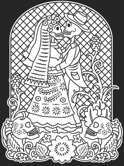 Day of the Dead Coloring Page 2